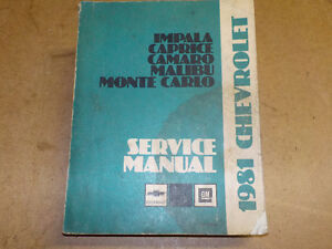 1981 Chevy Service Maintenance Manual
