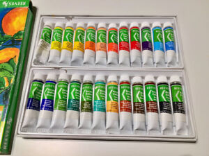 Art Set - Reeves 24 Acrylic Paint Set, Brushes, Oil Pastels