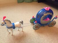 Transforming Cinderella carriage and horse/pumpkin