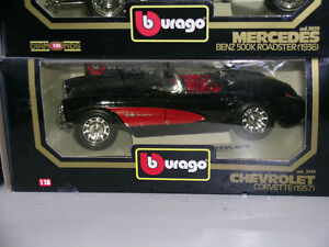 1957 Corvette Burago Black 1:18 scale new in box