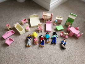 Dolls house furniture and peg people