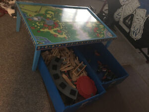 Thomas the train table, trundles, train sets and trains.