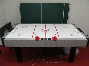 Vintage pub sized air hockey table with ping pong table