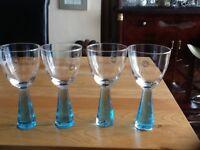 4 Stunning Blue Stem Wine Glasses from HOMEBASE