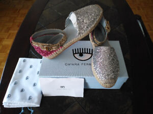NEW Chiara Ferragni CF1496 Leather Espadrilles Sandals Sz9US/39E