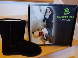 """Never Worn DAWGS 9"""" Black Cow Suede Boots Size 8"""