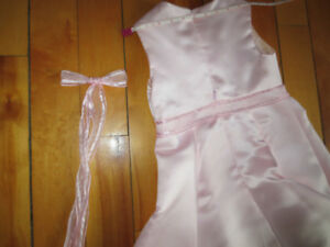 Girls Long Pink Satin Flowergirl Dress with Purse