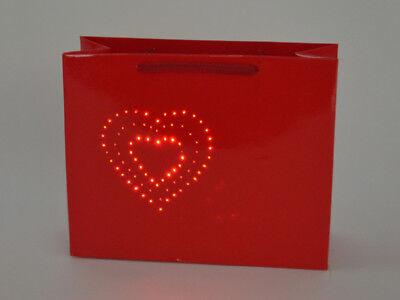 große LED TASCHE TÜTE GESCHENKTÜTE rot Herz Love Liebe beleuchtet Valentinstag