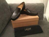 Loake Men's black leather loafer shoes UK 7.5