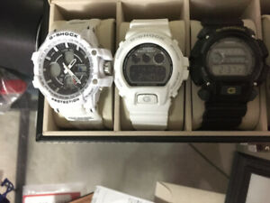 Multiple G-Shock Watches – White/Black – Good Condition