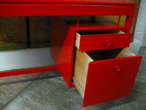 Mid-Century Red Desk North Shore Greater Vancouver Area image 2