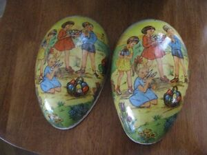 2 VINTAGE PAPER MACHE EASTER EGGS  MADE IN EAST GERMANY