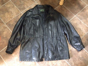 Men's large black Tip Top leather jacket.