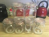 Six medium storage jars - New