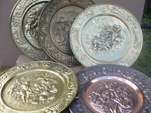 brass plates and decorative items