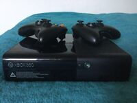 Xbox 360 E with 2 Controllers Turtle Beach Headset + 10 Games