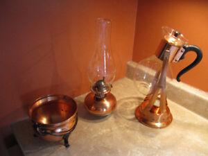 PRIX RÉDUIT-Ensemble Lampe à l'huile, carafon et plat en cuivre