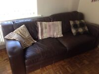 2 matching 3 seater leather sofas