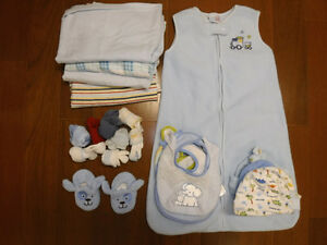 Newborn swaddling wraps, sleep sack, hats & booties