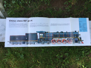 """Steam Locomotive 2-Sided Poster –German/China Class 34x11"""""""