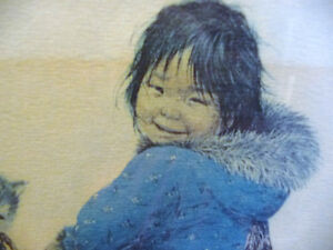 "Inuit Painting, Dorothy Francis ""Little Puglik's Playmate"" Litho Stratford Kitchener Area image 4"