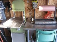 meat cutting band saw and cutting table