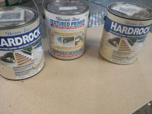 Roll on stone coating. 2 cans of paint. 1 primer