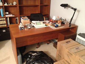 Teak Office Desk with filing and drawers on sides
