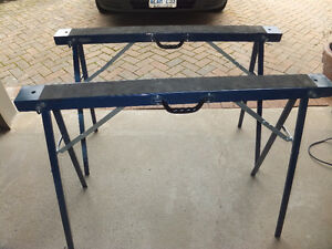 2 Almost-New Mastercraft Metal Sawhorse (s)