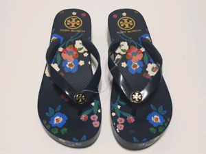 Tory Burch Wedge Flip Flop Navy/Pansy Bouquet Size 9