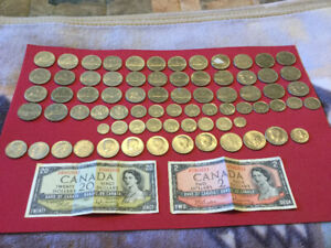 Mixed lot of Canada and United States coins and currency