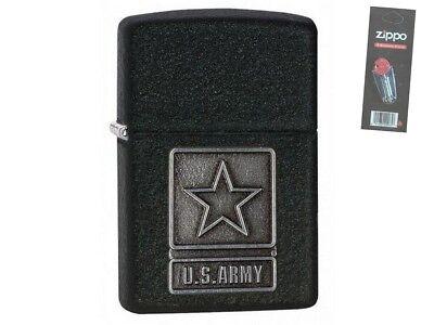 Zippo 28583 u.s. army pewter emblem black Lighter + FLINT PACK