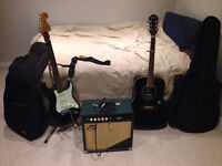 Clean Electric Guitar + Acoustic + Accesories (Will Deliver!)