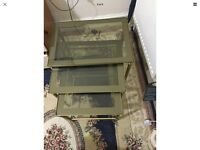 Nest of 3 Glass Topped Side Tables with golden Metal Frame,CASH ONLY