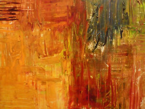 """Original Oil Painting, Abstract Vibrant (30x22"""")"""