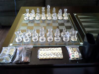 Glass Game Set.  Chess, Checkers and  Backgammon