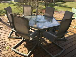 6 chair tempered glass patio set