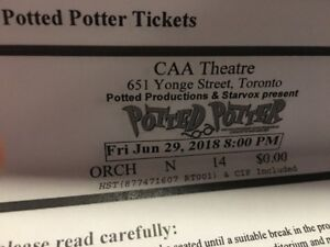 4 Potted Potter Tickets Fri June 29, 2018. at CAA Theater $200