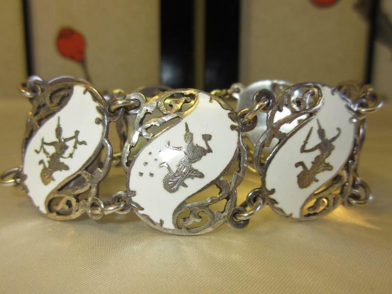 Vtg 50s SIAM DANCER STERLING SILVER WHITE ENAMEL 7 Panel Wide Bracelet Earrings