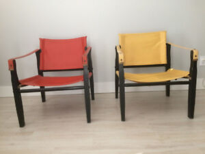 2-Safari 1960's Gold Medal Folding Furniture Co. chairs