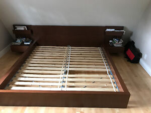 IKEA MALM BED FRAME WITH SIDE TABLES