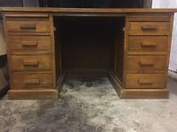 Large vintage leather top pedestal desk