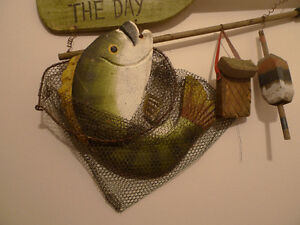 Vintage Wooden Catch of the Day The Big One Got Away Fish Sign