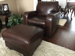 Leather couch and chair and ottoman