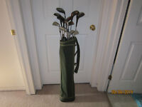 13 Assorted Golf Clubs With Golf Bag