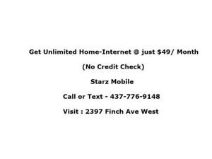 $49 Unlimited Home Internet + No Credit check & No Hidden Fees