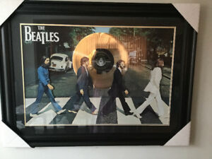 Huge Beatles Abbey Road 3D framed poster with Gold Record