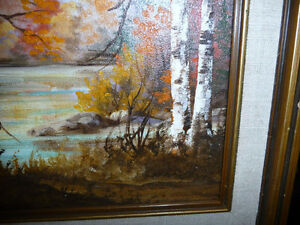 """Charming Roy Robson """"By The Birches"""" Original Oil Painting 1989 Stratford Kitchener Area image 10"""