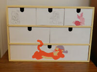WOODEN STORAGE BOX, 11x16x7 inches  $20.  6 DRAWERS