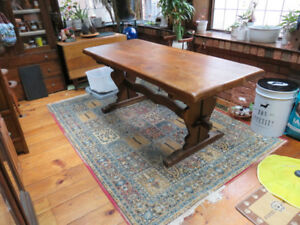 Solid Oak Gouge Top Table